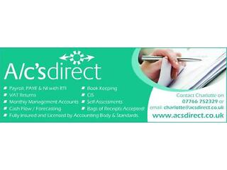 A/c's direct - your local book keeper, payroll, vat, self assessment & ltd company accounts