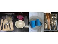 cutlery, organising box, wooden utensils, IKEA Plates set of 6, M&S Mugs, and more