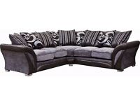 BRAND NEW -BLACK & GREY SHANNON CORNER AND 3+2 SOFA - FREE/CASH ON DELIVERY