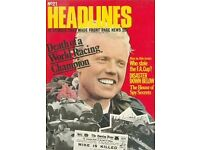 'Headlines' vintage magazines from 1972 - 1975, 27 in total