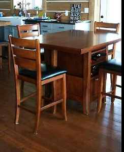 Cherry Wood  Pub Style Table Set with built-in wine rack