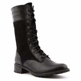 Timberland Black Mid Calf Women Boots Leather size 4 (EUR37)