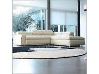 Italian Cream Leather Corner Sofa
