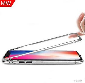 Protective Metal Frame Tempered Glass Back Magnetic Phone Case