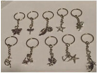 Job Lot x 10 Tibetan silver charms key rings / excellent wedding favours