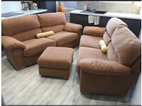 Two Harvey's 3 seater sofas with matching footstool