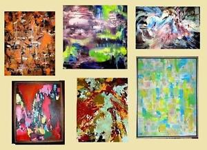 New Large ABSTRACT Paintings / Original Art / OOAK / NO PRINTS / Signed Blue Green Yellow Red Purple Black Orange