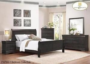 New!!! Louis Phillip Bedroom Set in Grey ONLY $799... Set includes Dresser, Mirror, Queen Headboard, Queen Footboard and