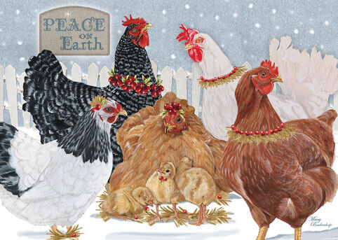 Chicken Group Christmas Cards Set of 10 cards & 10 envelopes