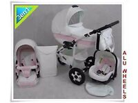 Pink and white leather travel system