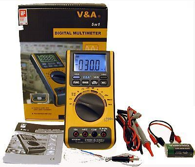 5-in-1 Digital Multimeter Thermometer Lux Light Meter Sound Tester % RH Humidity