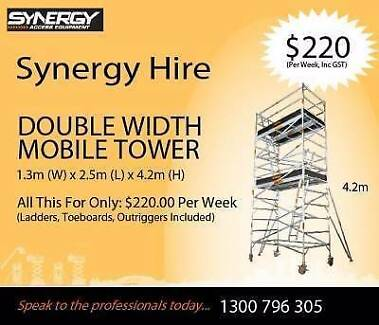 Dry Hire - Double Width Aluminium Mobile Scaffolding - 4.6m high Sydney Region Preview