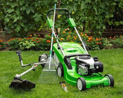 Lawn mowing landscaping and gardening