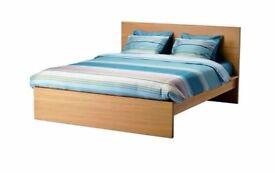 Standard King Bed frame, high MALM Oak veneer/lönset