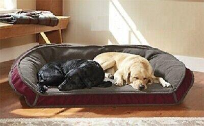 Orvis Memory Foam Fleece Lined Deep Dish Dog Bed MEDIUM Cozy Burgundy Red NEW