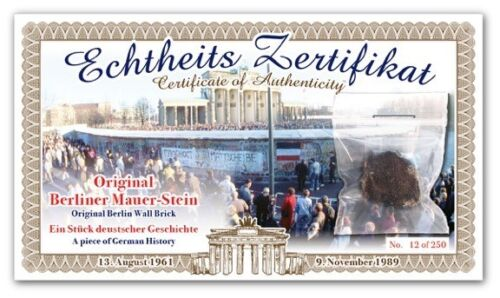 2 - BERLIN WALL PIECE CERTIFICATES - Authentic Historic German History Artifact