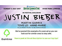 Justin Bieber - Barclaycard British Summer Time - Sunday -- Read the ad description before replying!