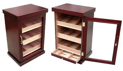 1000 Ct Cigar Cherry Cabinet Humidor full Glass Door 3 trays 6 Humidifiers Wire for sale  Pompano Beach
