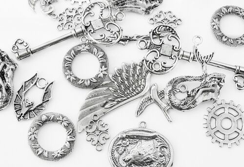 A sample of zinc alloy jewellery components