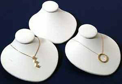 3 New White Leather Jewelry Display Bust Pendants Necklaces Neck Forms