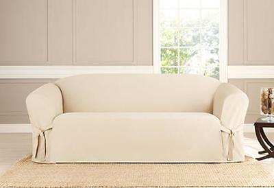 Natural Box-cushion Sofa Sure fit Cotton Duck One Piece Slipcover - One Piece Sofa Slipcover