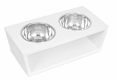 Internet's Best Modern Elevated Pet Feeder - 2 Medium Dog Bowls - Decorative