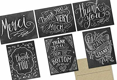 Chalkboard Thank You   36 Note Cards 6 Designs   Kraft Envelopes