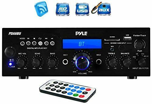 Pyle PDA6BU Bluetooth Stereo 200 Watt Amplifier Wireless Hom
