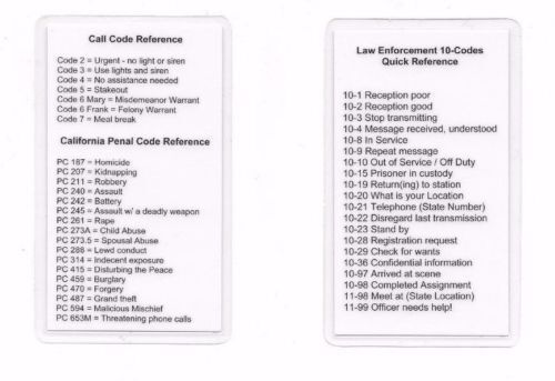 Radio 10, Call, Penal Code / Codes Reference Card / Sheriff / Police / Marshal