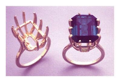 (16x12-20x15mm) 14kt White or Yellow Gold Emerald Deep Cut Ring Setting (Sz 7-9)