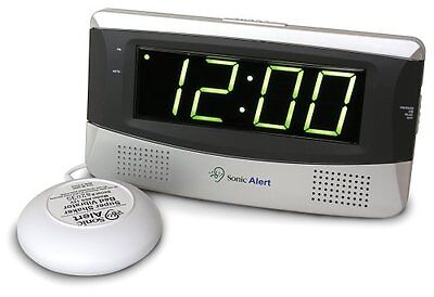 Sonic Alert SB300 Sonic Boom Loud Vibrating Alarm Clock with Large Display , New