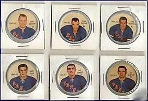 Group  of 6  Hockey Shirriff- Salada Plastic  Coins 1961-62