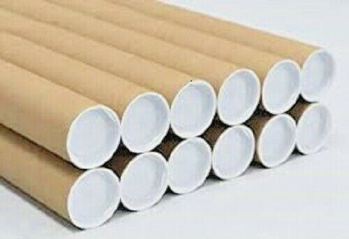 """10 - 2"""" x 24"""" Cardboard Shipping Mailing Tube Tubes Cores With End Caps"""