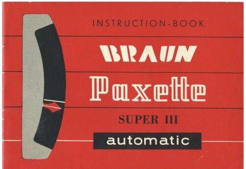 Braun Paxette Super III Automatic Instruction Manual Original