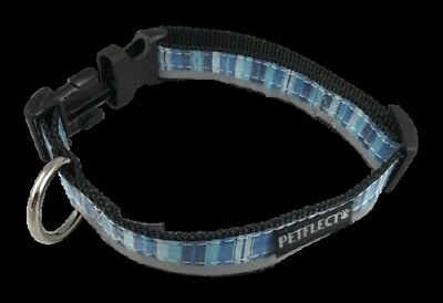 Blue Vertically Striped Dog Collar - Reflective - Nylon - Super Strength