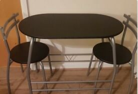Black dining room table.