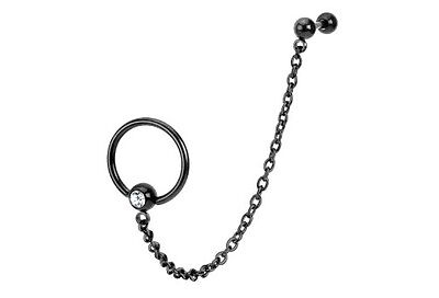 BLACK Chain LINK Captive Bead Rings TRAGUS CARTILAGE Double EAR Piercing Jewelry