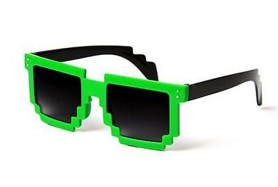 8-Bit Green Pixel Retro Glasses Gamer Geek Party Nerd Sunglasses Pixelated Adult - Pixel Nerd Glasses