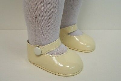 IVORY DK CREAM Patent Side Snap Doll Shoes For 18
