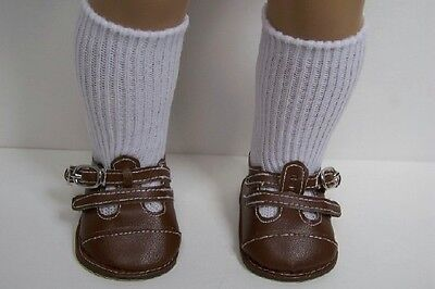 BROWN Dress Up or Casual T-Strap EZ2 Close Doll Shoes For 18 American Girl (Debs - Casual Dress Up For Girls