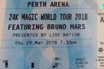 Bruno Mars Perth Tickets A RESERVE