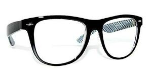 Black White Checkered Retro NHS Designer Geek Nerd New clear Lens GLASSES Large