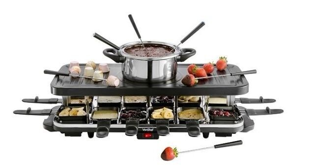 Raclette Fondue Set vonshef 12 person raclette grill with 6 fork fondue set 12