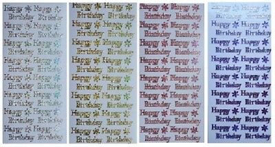 Happy Birthday Peel - HAPPY BIRTHDAY Peel Off Stickers Metallic Shimmer Foil Pink Red Blue Gold Silver