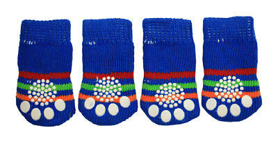 4pcs Blue w/ Stripes Anti-Slip Dog Socks for Clean & Comfy Paws Pet Puppy Size S