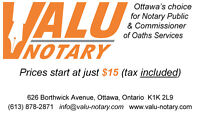 $15 - Ottawa Notary Public / Commissioner of Oaths - $15