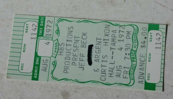 Jeff Beck 1972 Concert Ticket Stub Curtis Hixon Hall Tampa Florida August 4 1972