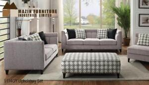Contemporary framing set with tight-back pillow tufting Sofa, Loveseat and Ottoman  (MA379)