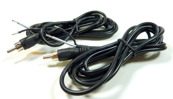 6-ft RCA Male Shielded Audio Cable To Bare Wire For Speakers