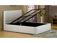 DOUBLE WHITE LEATHER BED OTTOMAN WITH STORAGE AND DIAMONDS